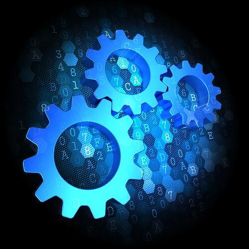 Blue Cogwheel Gear Mechanism Icon on Dark Digital Background
