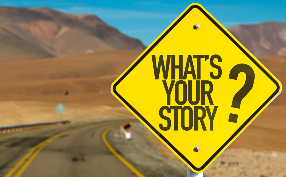 Whats Your Story? sign on desert road